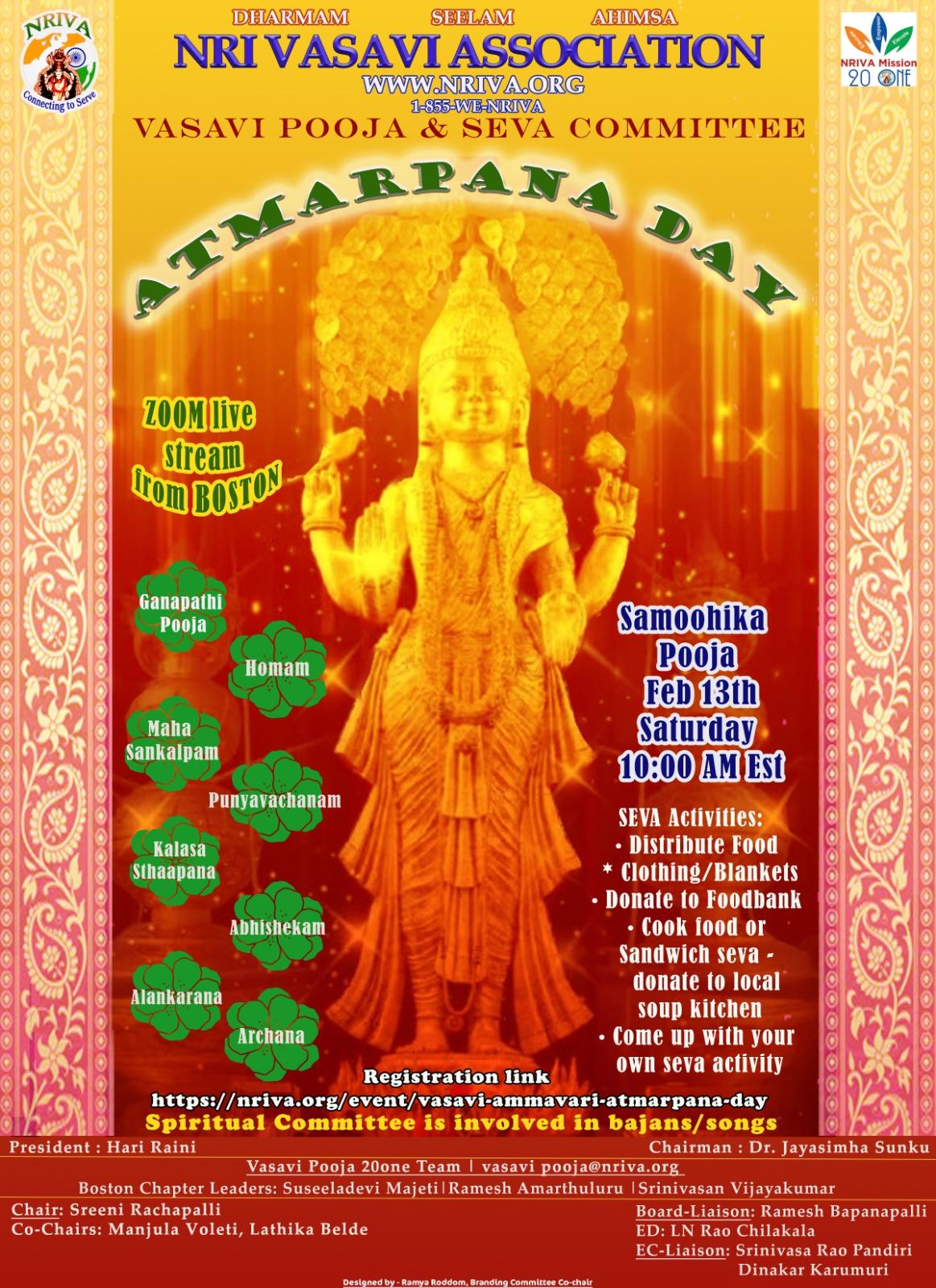 NRIVA Vasavi Ammavari Atmarpana Day