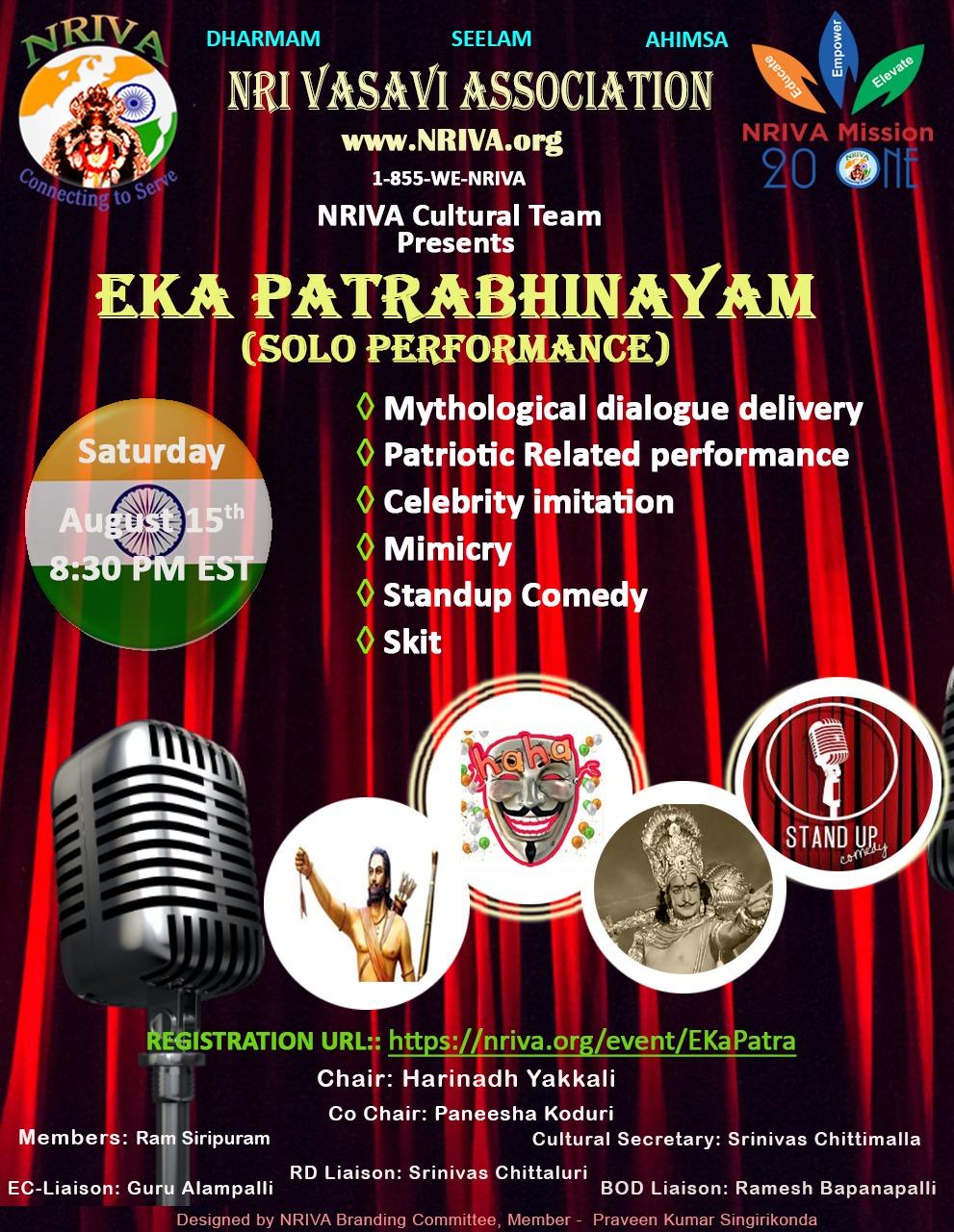 "NRIVA ""Eka Patrabhinayam (Solo Performance)"" Live show"