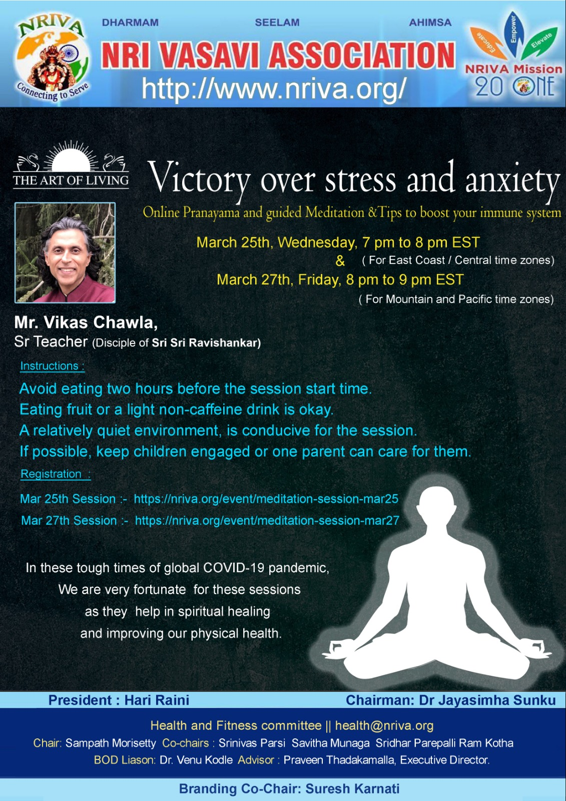 Pranayama and Guided Meditation Sessions
