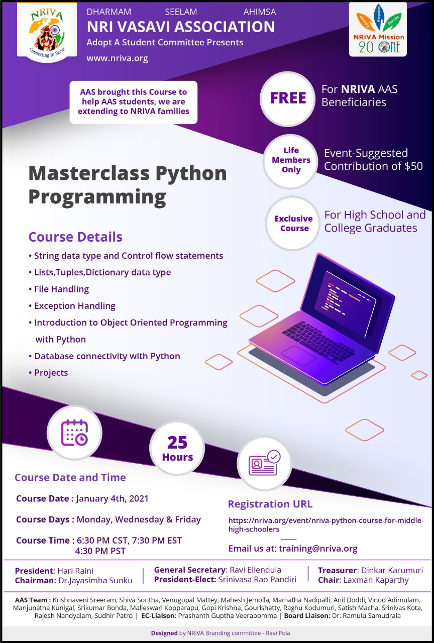NRIVA PYTHON course for Middle &High Schoolers