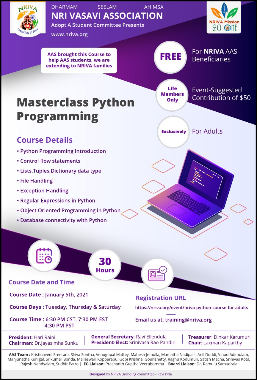 NRIVA Python course for Adults