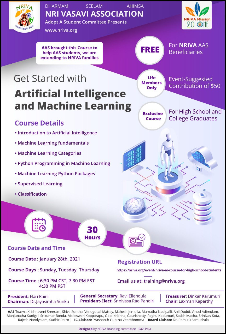 NRIVA AI course for High School students