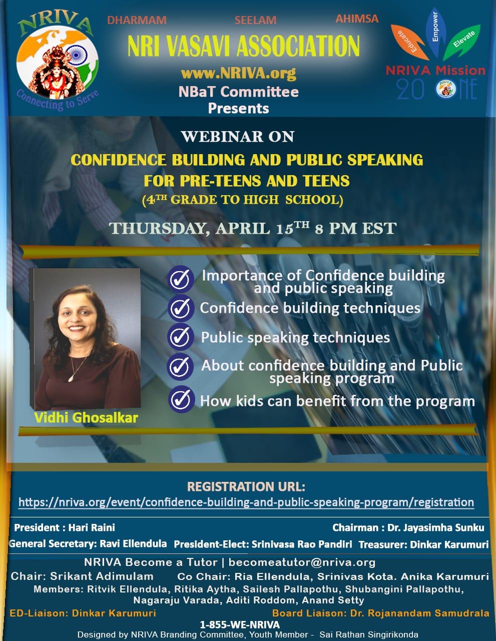 Confidence Building and Public Speaking Program